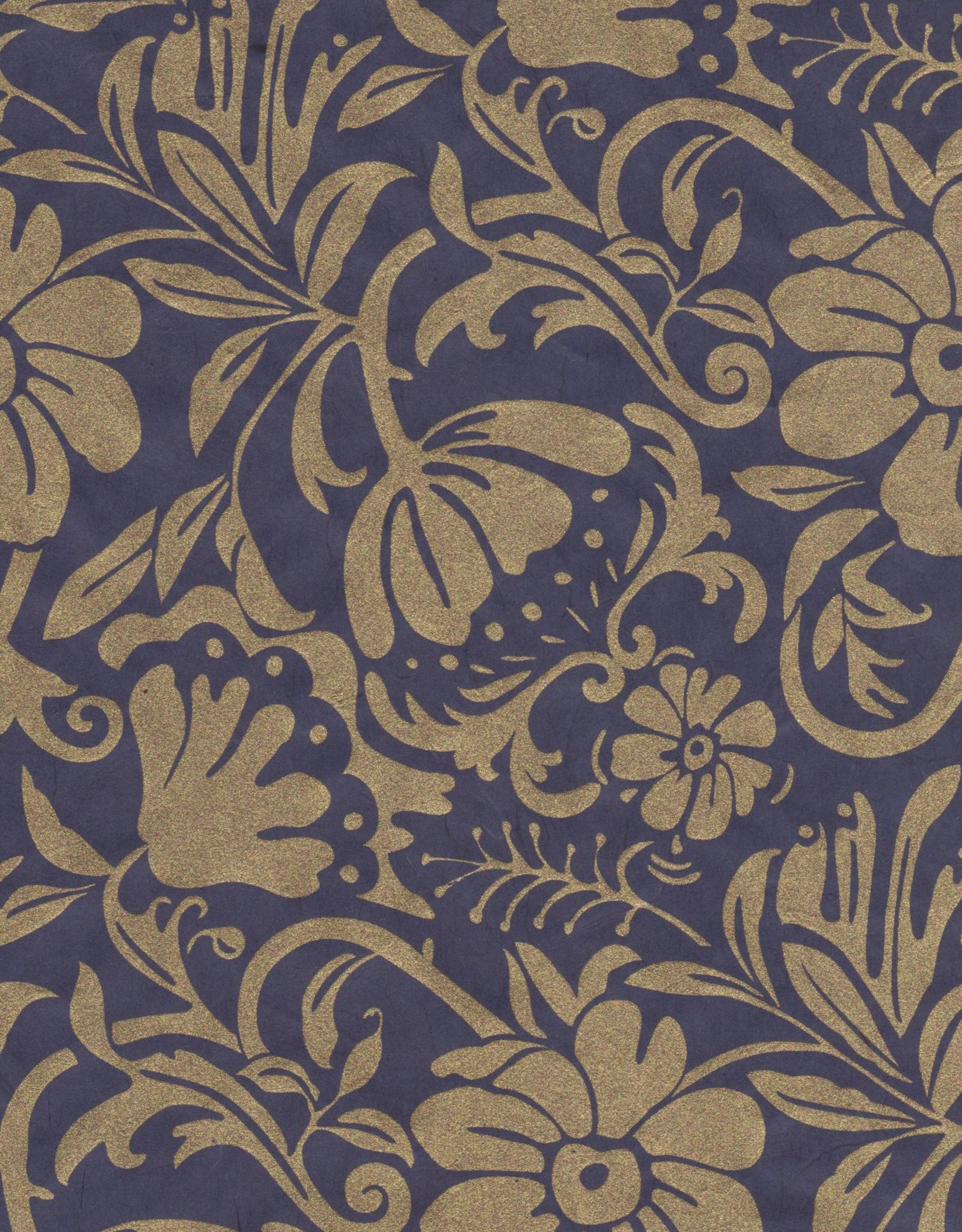 "Thai Moonflower, Gold on Midnight Blue, 25"" x 37"""