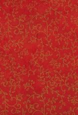"Thai Screenprint Copper Napa on Red, 25"" x 37"""