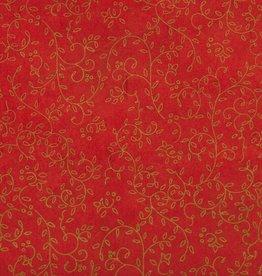 "Thailand Thai Screenprint Copper Napa on Red, 25"" x 37"""