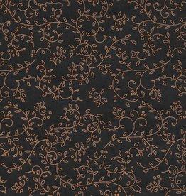 "Thailand Thai Screenprint Copper Napa on Black, 25"" x 37"""