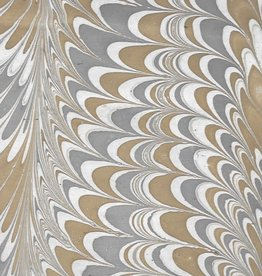"""India Indian Marble, Grey, Light Brown on Natural, Comb Design, 22"""" x 30"""""""