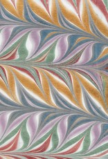 """Indian Marble: Metallic Blue, Lavender, Red, Green, Gold, Feather Design, 22"""" x 30"""""""
