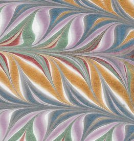 "Indian Marble: Metallic Blue, Lavender, Red, Green, Gold, Feather Design, 22"" x 30"""