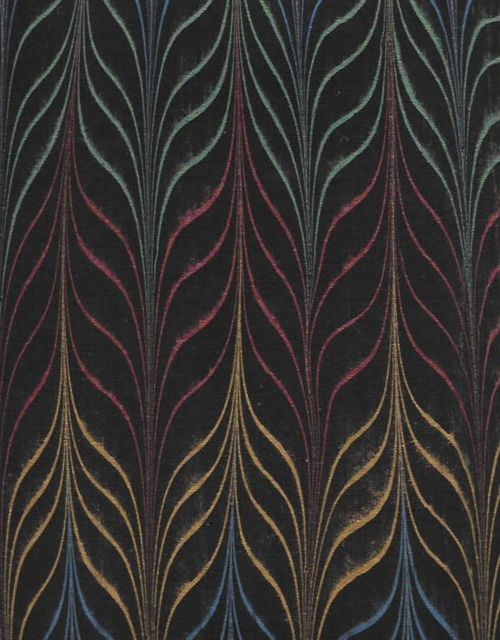 """Indian Marble: Metallic Red, Yellow, Green, Blue on Black, Long Feather Design, 22"""" x 30"""""""
