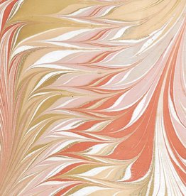 """India Indian Marble, Orange, Mustard, Lavender on Natural, Feather Design, 22"""" x 30"""""""