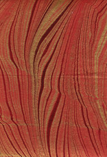 """Indian Marble: Red with Gold, Feather Design, 22"""" x 30"""""""