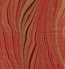 "Indian Marble: Fire Red with Gold, Feather Design, 22"" x 30"""
