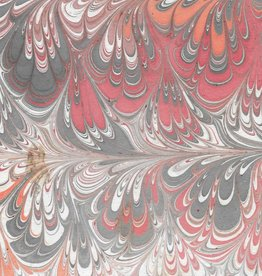 """Indian Marble: Red, Orange, Grey on White, Peacock Design, 22"""" x 30"""""""
