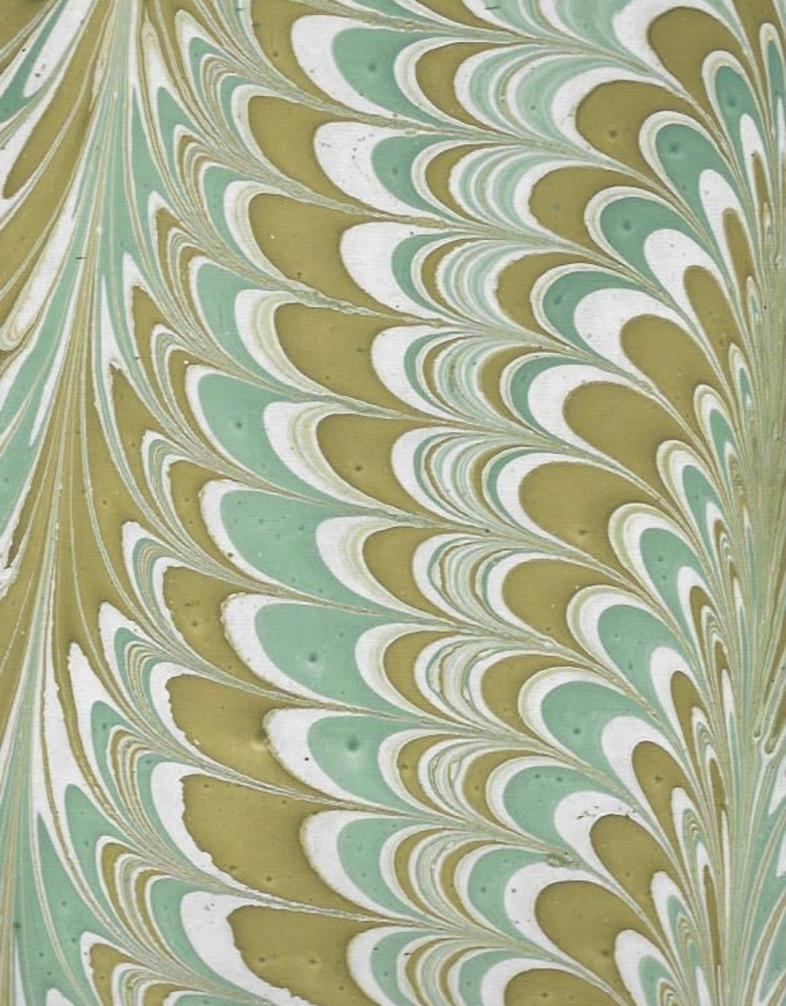 """Indian Marble: Sea Green, Mustard on Natural, Comb Design, 22"""" x 30"""""""