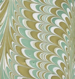 """India Indian Marble, Sea Green, Mustard on Natural, Comb Design, 22"""" x 30"""""""