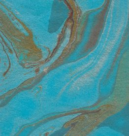 "Indian Marble: Turquoise with Red, Gold, Silver, Blue, Turkish Design, 22"" x 30"""