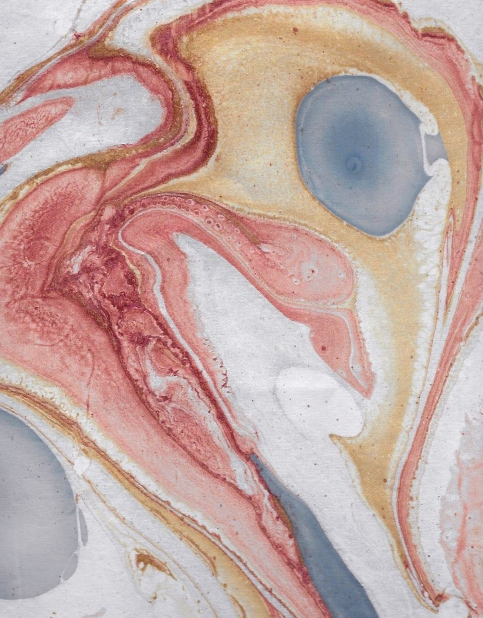 """Indian Marble: White with Red, Blue, Gold, Turkish Design, 22"""" x 30"""""""