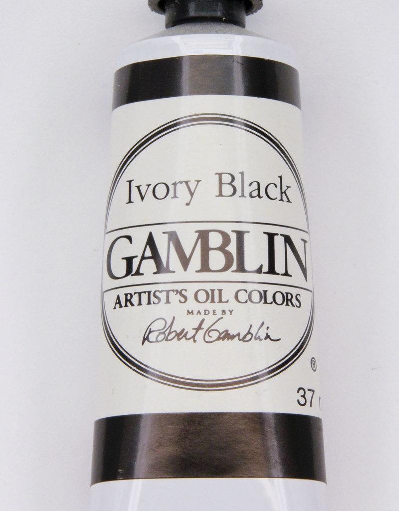 Gamblin Oil Paint, Ivory Black, Series 1, Tube 37ml