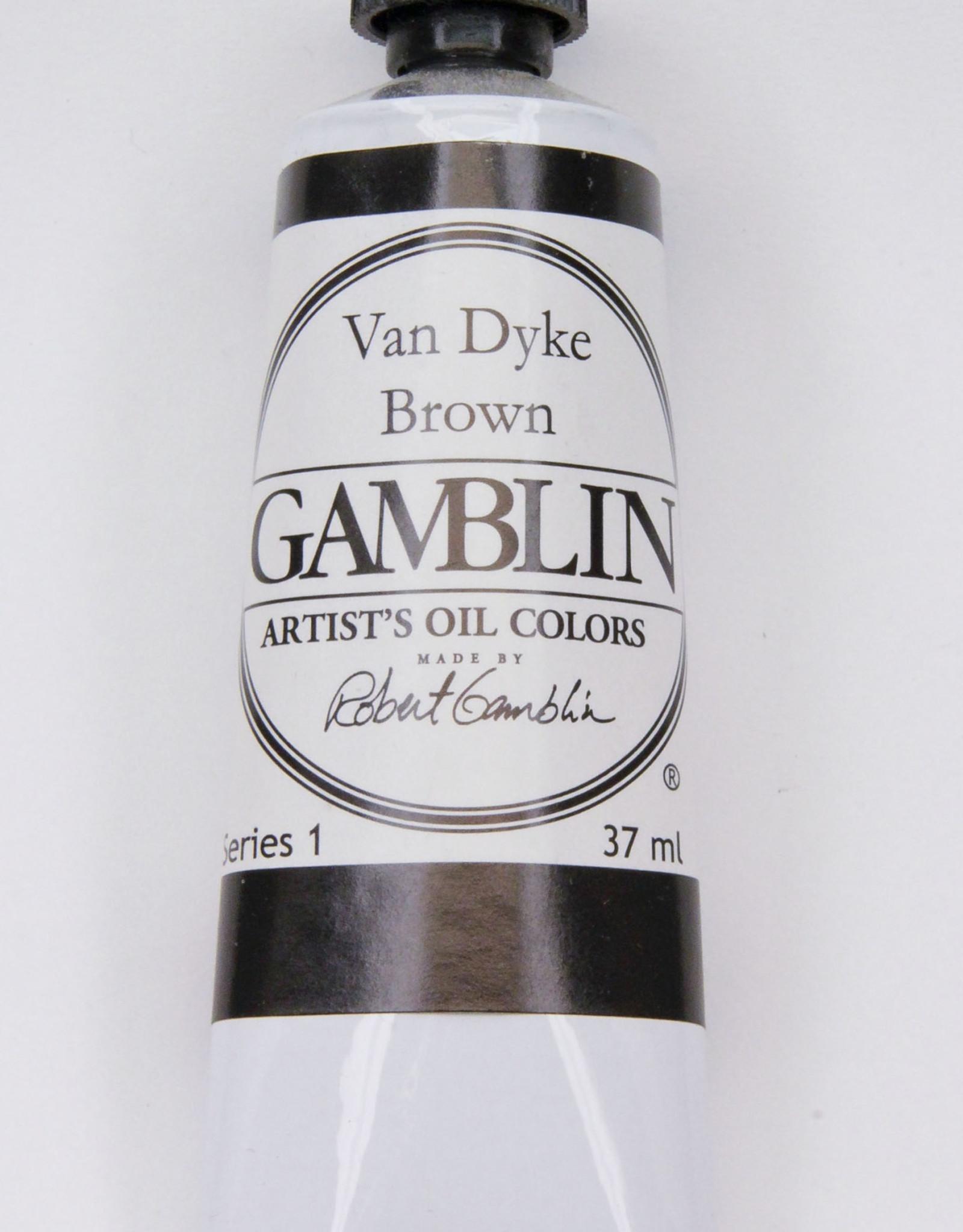 Gamblin Oil Paint, Van Dyke Brown, Series 1, Tube 37ml