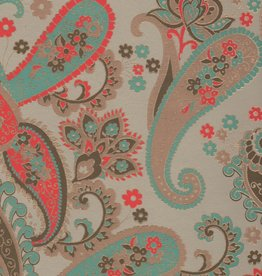 """India Paisley with Turquoise Red and Gold, 22"""" x 30"""""""