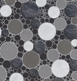 """Indian Circle Pattern Black with Silver, 22"""" x 30"""""""