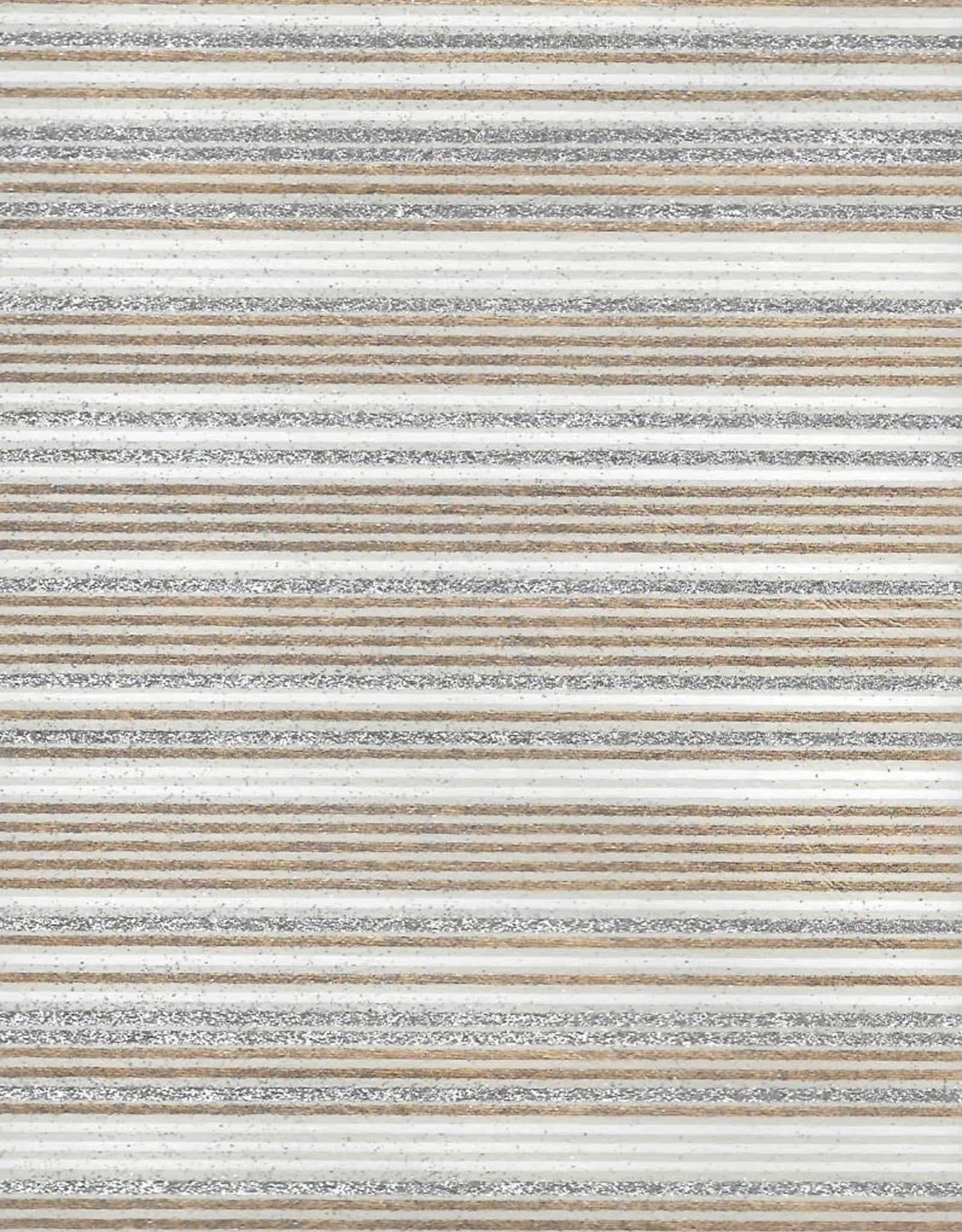 """Glitter Stripes, White, Gold on Natural, 22"""" x 30"""""""