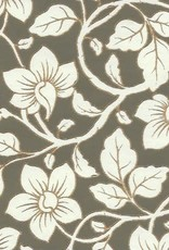 "Wild Flowers Cream, Grey-Green, Gold Lines on Cream, 22"" x 30"""