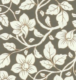 "India Wild Flowers Cream, Grey-Green, Gold Lines on Cream, 22"" x 30"""