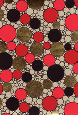 "Indian Circle Pattern, Red, Gold, Black on Natural, 22"" x 30"""
