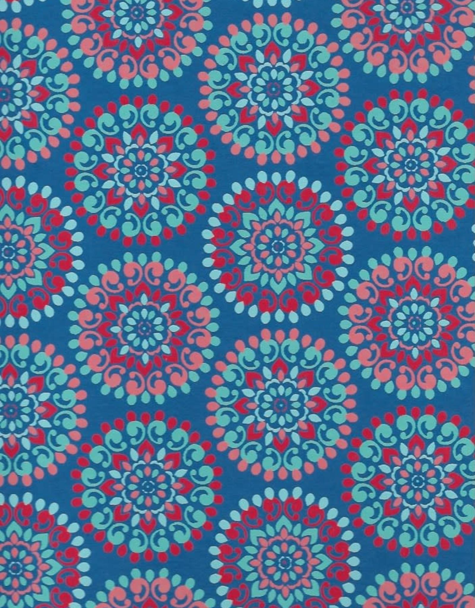 "Flower Mandalas, Light Blue, Red, Pink on Blue, 22"" x 30"""