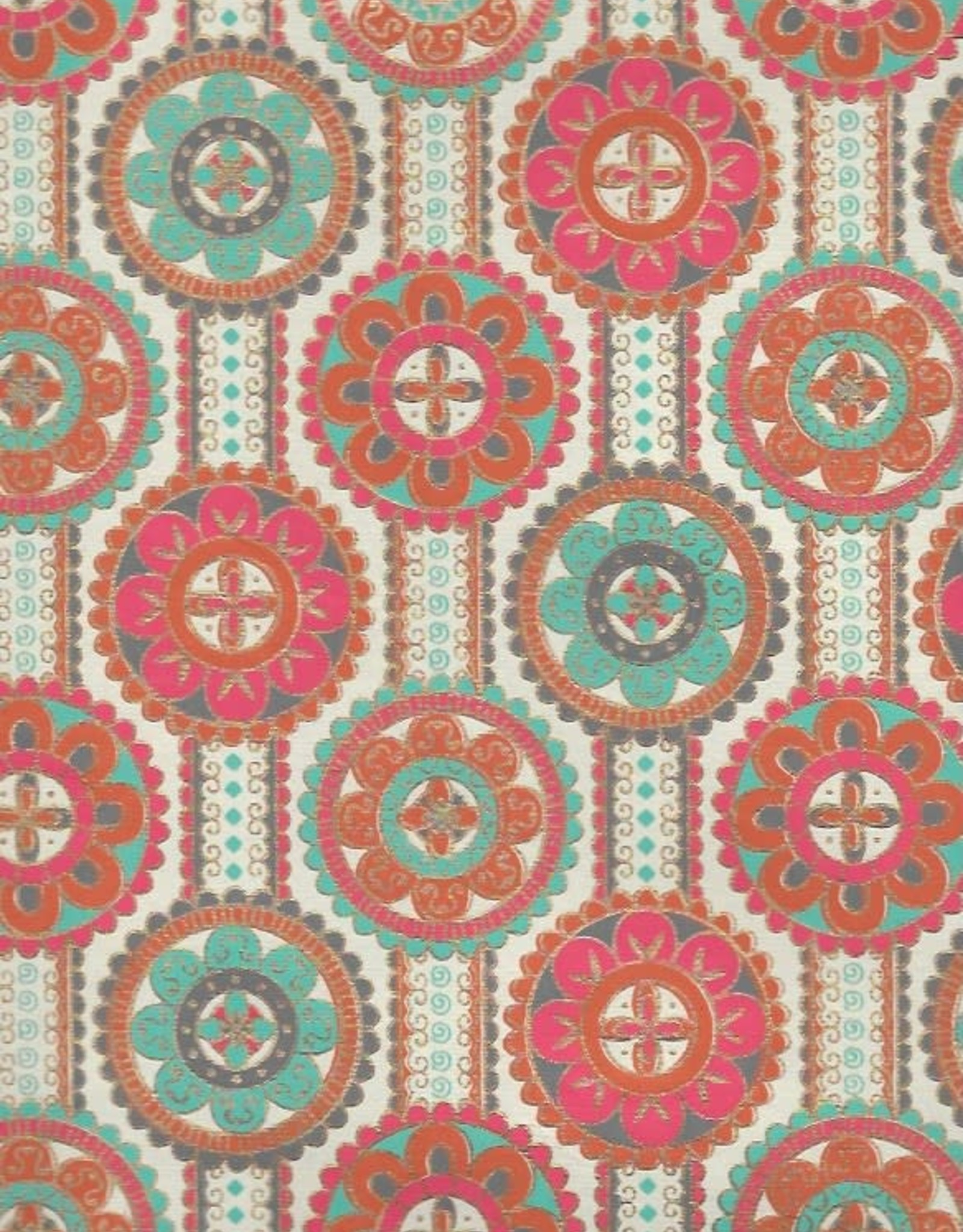 "Flower Mandalas on Ribbons with Orange, Red, Turquoise, Gold on Cream, 22"" x 30"""