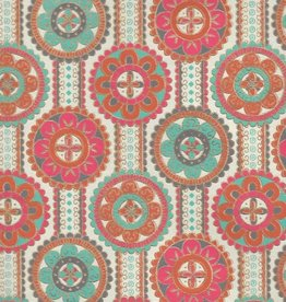 """India Indian Flower Mandalas on Ribbons with Orange, Red, Turquoise, Gold on Cream, 22"""" x 30"""""""
