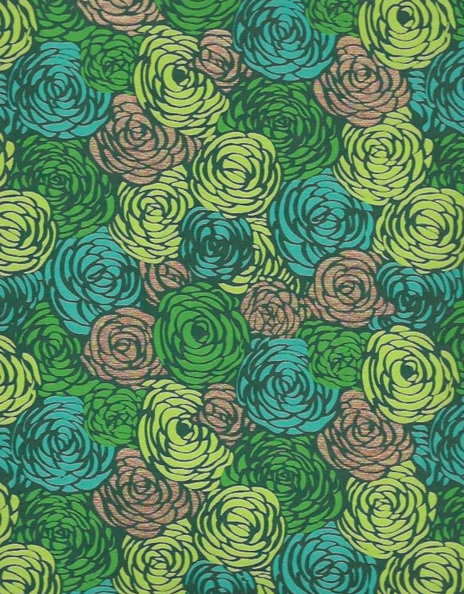 """Green Roses on Green with Teal, Lime and Gold, 22"""" x 30"""""""