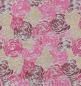 "Red Roses on Natural with Pink, Burgundy and Gold, 22"" x 30"""