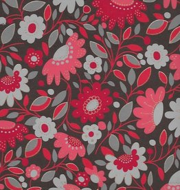 """India Sleeping Beauty Flower Garden, Red on Brown, 22"""" x 30"""""""
