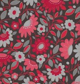 "Sleeping Beauty Flower Garden, Red on Brown, 22"" x 30"""