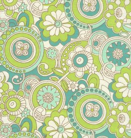 """India Flower Paisley Lime Blue, 22"""" x 30"""""""