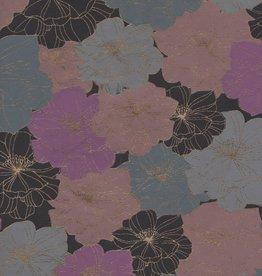 """India Flower Outlines Black, Blue, Violet, 22"""" x 30"""""""