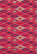 "Southwestern Quilt Pattern, Red, Orange, Purple, Gold on Peach, 22"" x 30"""
