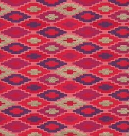 "Southwestern Quilt Pattern, Red, Orange, Purple, Gold on Peach, 22"" x 30"""