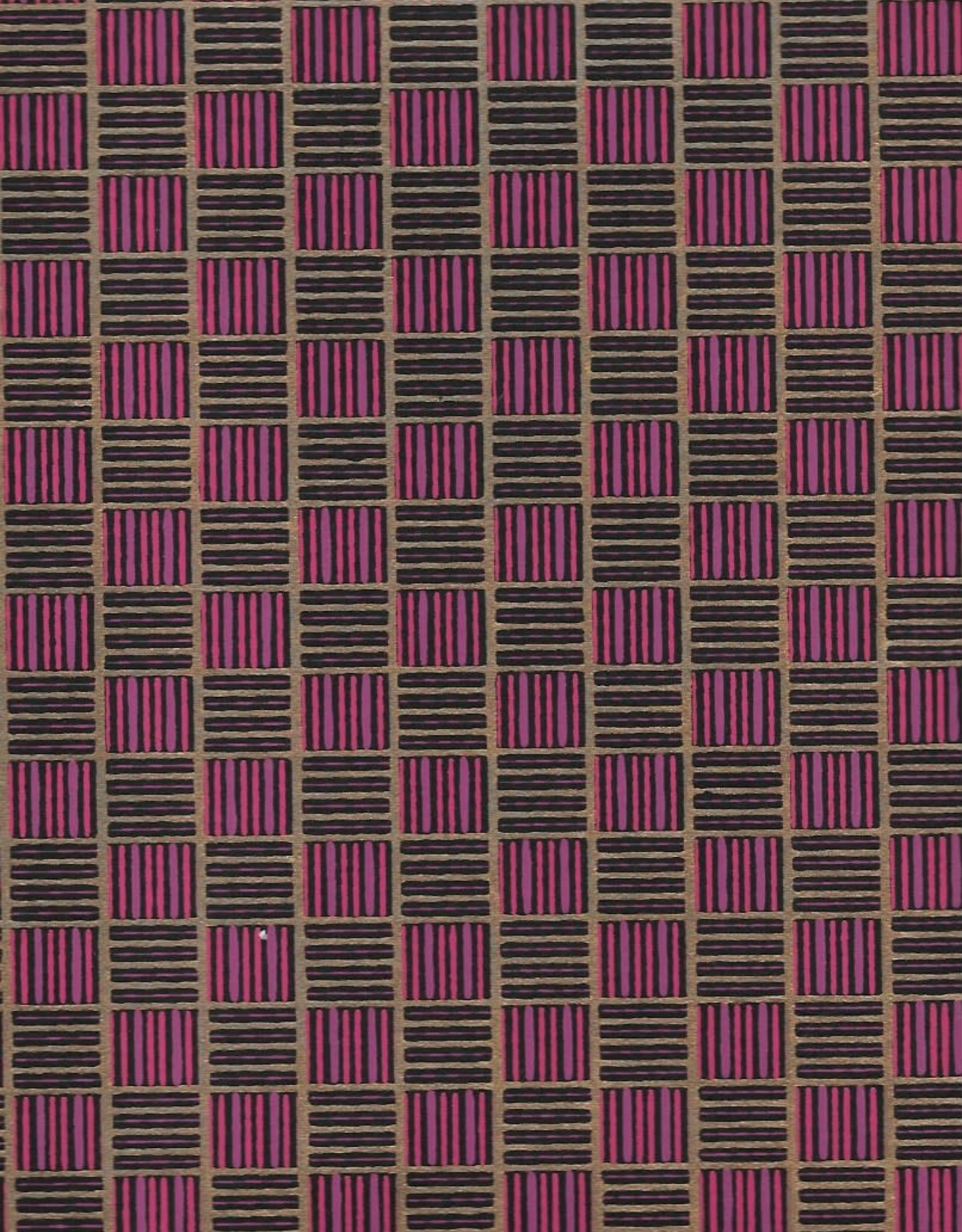 "Hatch Squares, Purple, Pink, Gold on Black, 22"" x 30"""