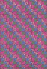 "Swirly Rose, Pink, Blue, Green, Gold on Purple, 22"" x 30"""