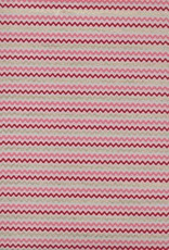 """Wavy Zig Zag Stripes, Red, Pink, Gold on Natural, 22"""" x 30"""""""