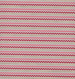 "Wavy Zig Zag Stripes, Red, Pink, Gold on Natural, 22"" x 30"""
