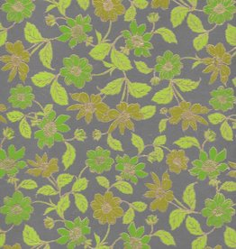 "Wild Flowers Green, Green, Lime, Moss on Grey, 22"" x 30"""