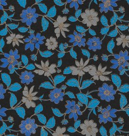 "Wild Flowers Blue, Grey, Gold Lines on Black, 22"" x 30"""