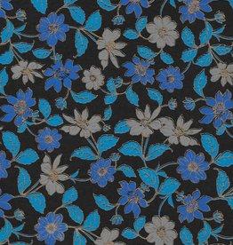 "Wild Flowers Blue, Grey, Gold Lines on Black, 22"" x 30"""
