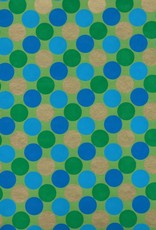 "Dots, Green, Blue with Gold on Green, 22"" x 30"""