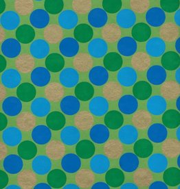 "India Dots, Green, Blue with Gold on Green, 22"" x 30"" Limited Quantities"