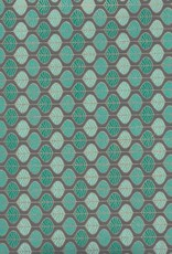 """Mint Chocolate Chip Leaves, Green, Blue, Gild Lines on Grey,  22"""" x 30"""""""