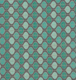 "Mint Chocolate Chip Leaves, Green, Blue, Gild Lines on Grey,  22"" x 30"""
