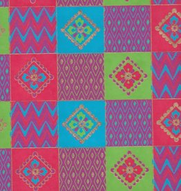 "Quilt Squares with Flowers, Red, Blue, Green on Magenta, 22"" x 30"""