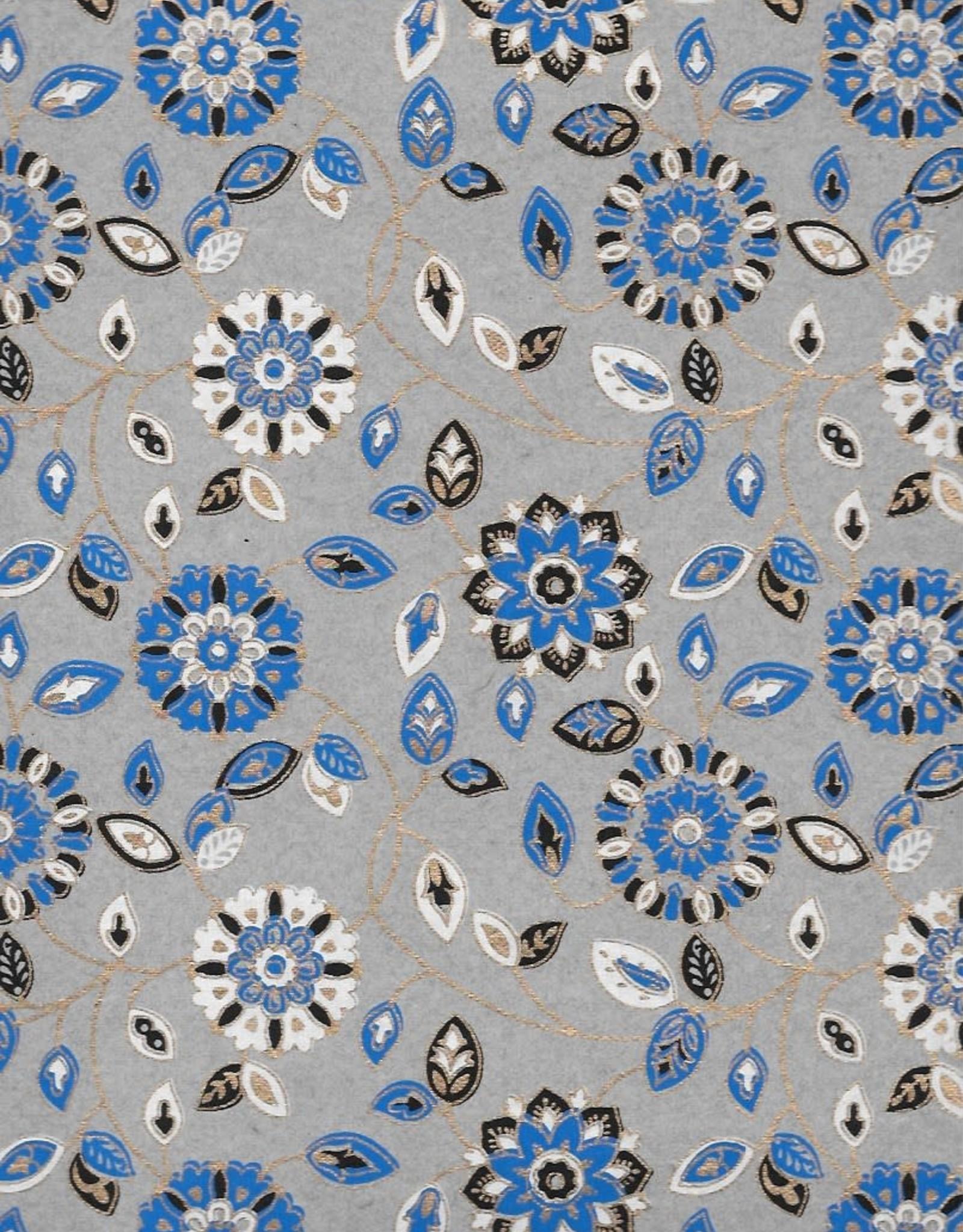 "Garden Flowers with Mandalas, Blue, White, Black on Grey, 22"" x 30"""