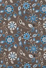 "Garden Flowers with Mandalas, Blue, White, Black on Brown, 22"" x 30"""