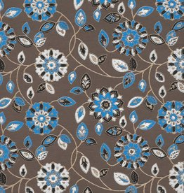 """India Garden Flowers with Mandalas, Blue, White, Black on Brown, 22"""" x 30"""""""